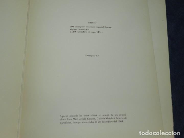 Arte: (M) JOAN MIRÓ OBRA INÉDITA RECIENTE + MIRÓ ALBUM 19 , SALA GASPAR 1964, JOAN BROSSA - Foto 10 - 218672912