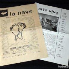 Art: REVISTA UNIVERSITARIA LA NAVE, Nº1 + ARTE VIVO, Nº 1 MARZO 1957. GRUPO PARPALLÓ. ORIGINALES. RARÍSIM. Lote 219101926