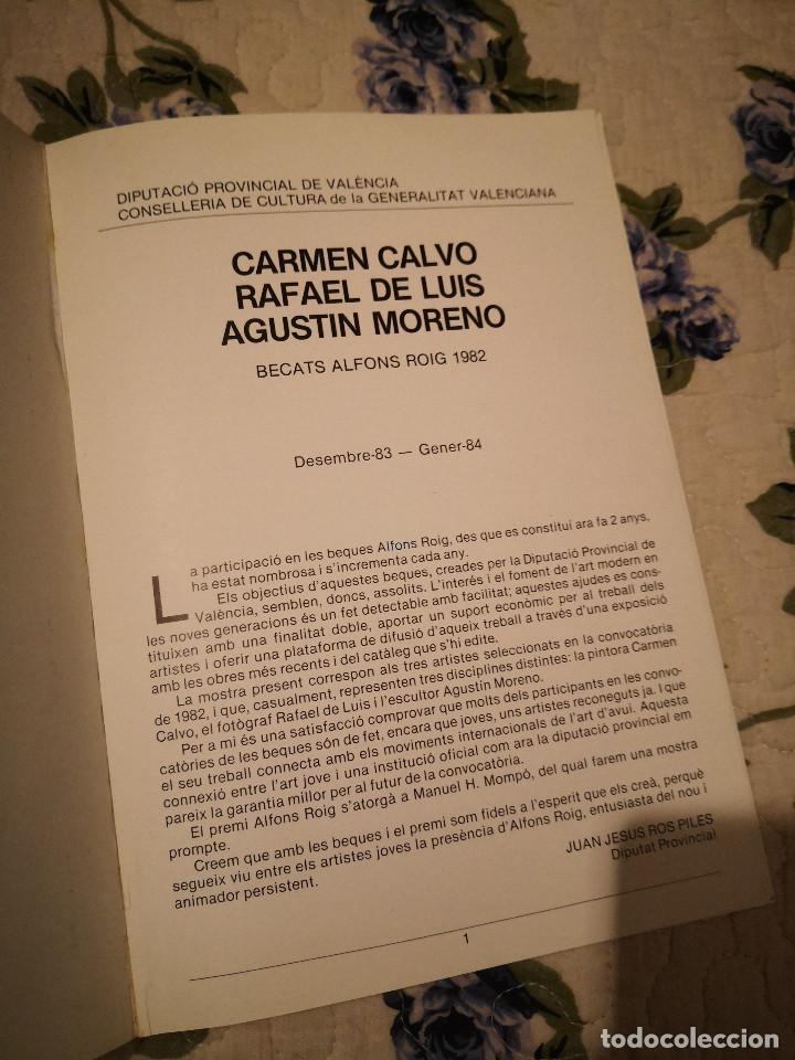 Arte: CARMEN CALVO – RAFAEL DE LUIS – AGUSTÍN MORENO SALA PARPALLO 1984 CATALOGO EXPSICION LIBROS - Foto 2 - 233186415