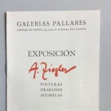 Art: ALBERTO ZIEGLER // CATÁLOGO INVITACIÓN EXPOSICIÓN // 1943 // GALERIAS PALLARÉS. Lote 234102455