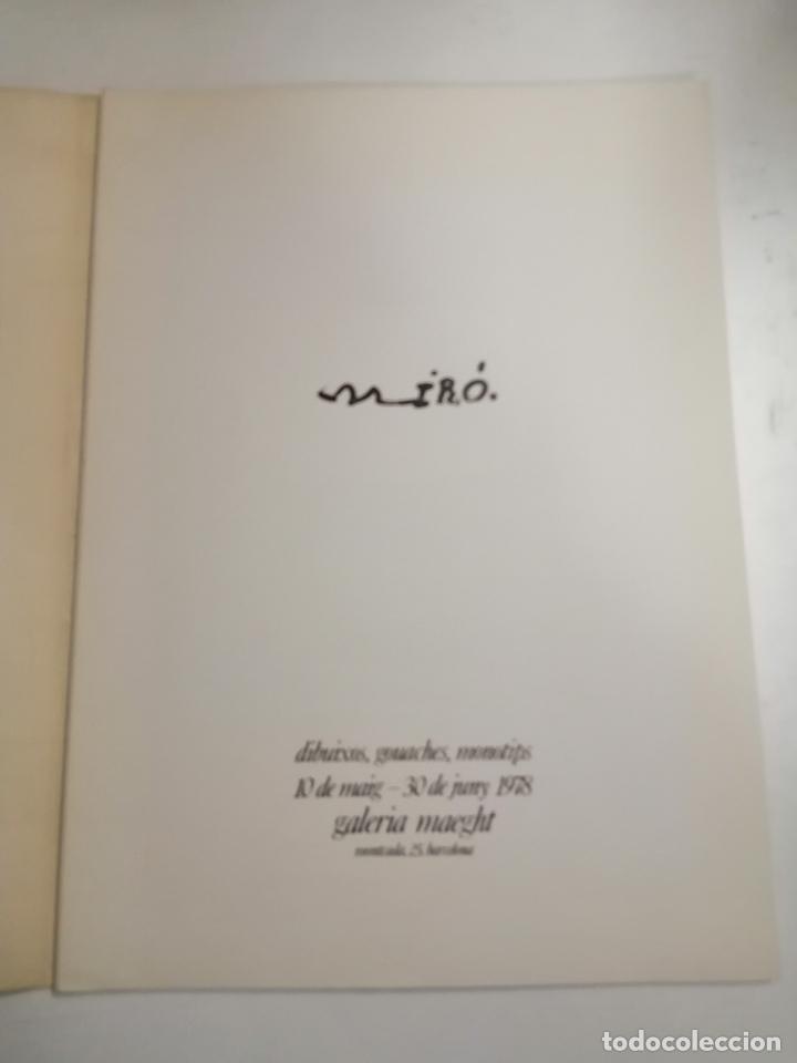 Arte: Joan Miró. Miró. 1978 Barcelona. Galeria Maeght. Dibuixos, gouaches, monotips - Foto 2 - 236350925