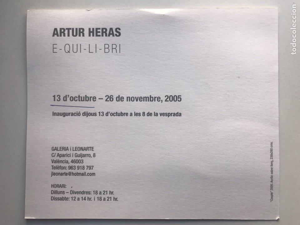 Arte: Envío 6€. Postal invitación 18x21,5cm GALERIA i LEONARTE. Obra de ARTUR HERAS - Foto 2 - 237654240
