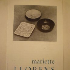 Art: MARIETTE LLORENS. DÍPTICO. GALERIA SUR. SANTANDER. 1969. TEXTO. CORREDOR-MATHEOS. Lote 254413080