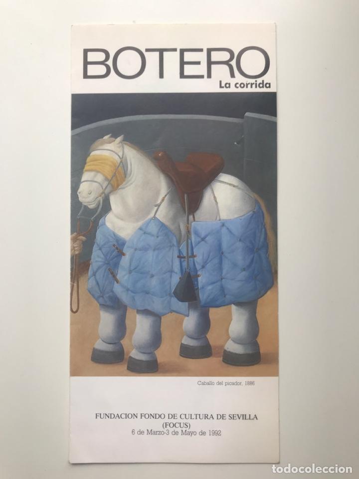 ENVIÓ 8€. FOLLETO BOTERO LA CORRIDA. TRÍPTICO, FUNDACIÓN FONDO DE CULTURA DE S. 1992 MIDE 21X10CM (Arte - Catálogos)