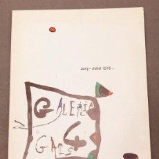 Arte: JOAN MIRÓ - GALERIA 4 GATS, 1976 - SALA GASPAR, 1975. Lote 261225300
