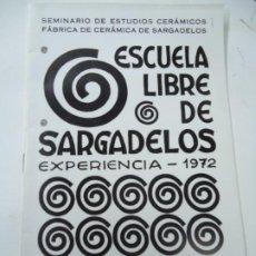 Arte: ESCUELA LIBRE DE SARGADELOS 1972 CATÁLOGO MUSEO CARLOS MASIDE EL CASTRO SADA LA CORUÑA SEMINARIO DE. Lote 295048993