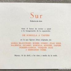 Arte: TARJETA INVITACIÓN DE LA GALERÍA DE ARTE SUR (MANUEL ARCE - SANTANDER) - EXPO. DE SOROLLA A TAPIES. Lote 263126650