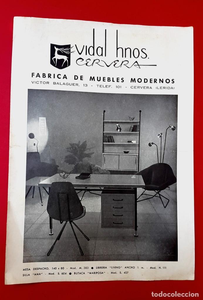MUEBLES MODERNOS - VIDAL HNOS CERVERA - AÑOS 50 - DÍPTICO (Arte - Catálogos)