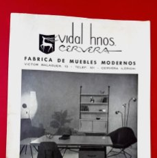 Arte: MUEBLES MODERNOS - VIDAL HNOS CERVERA - AÑOS 50 - DÍPTICO. Lote 269081108