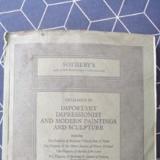 Arte: SOTHEBY AND CO CATALOGUE OF IMPORTANT IMPRESSIONIST AND MODERN PAINTINGS AND 7TH DIC 1977 CATALOGO. Lote 274397608