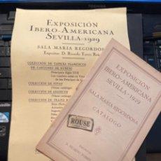 Arte: EXPOSICION IBERO-AMERICANA SEVILLA 1929 - CARTEL Y CATALOGO SALA MARIA REGORDOSA EXPOSITOR D. RICARD. Lote 286001808
