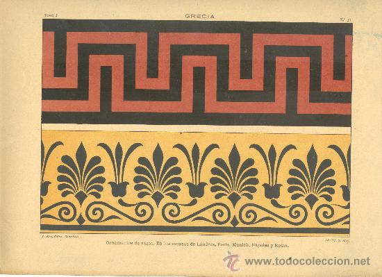UXG CROMOLITOGRAFIA C. 1890 J. ALEU GRECIA ARTE DECORATIVO ORNAMENTO VASOS MUY RARA (Arte - Cromolitografía)