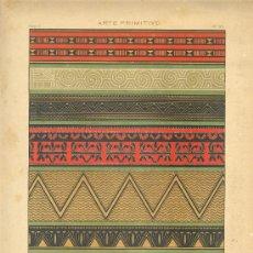 Arte: UXG CROMOLITOGRAFIA 1890 J. ALEU ARTE PRIMITIVO DECORATIVO TEJIDOS PINTURAS OCEANIA AFRICA MUY RARA. Lote 27554450