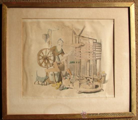 HILADORA, CROMOLITROGRAFIA RETOCADA A MANO, PUBLICADA EN 1805 (Arte - Cromolitografía)