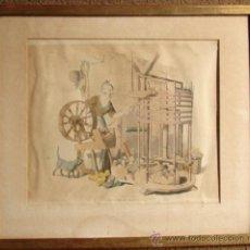 Arte: HILADORA, CROMOLITROGRAFIA RETOCADA A MANO, PUBLICADA EN 1805. Lote 27092848