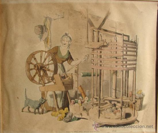 Arte: HILADORA, CROMOLITROGRAFIA RETOCADA A MANO, PUBLICADA EN 1805 - Foto 2 - 27092848