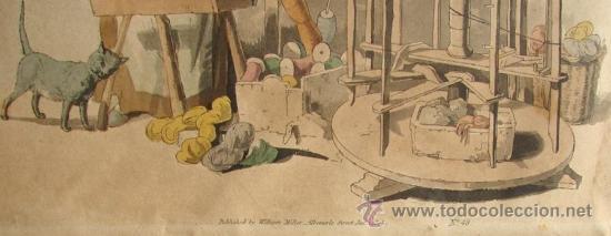 Arte: HILADORA, CROMOLITROGRAFIA RETOCADA A MANO, PUBLICADA EN 1805 - Foto 3 - 27092848