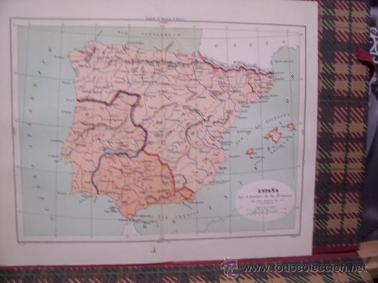 MAPAS -CROMOLITOGRAFÍA 1889 - MAPA DE ESPAÑA BAJO EL DOMINIO DE LOS ROMANOS - 27 X 22 CM. (Arte - Cromolitografía)