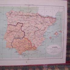 Arte: MAPAS -CROMOLITOGRAFÍA 1889 - MAPA DE ESPAÑA BAJO EL DOMINIO DE LOS ROMANOS - 27 X 22 CM.. Lote 23527197