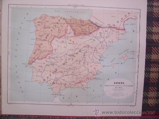 MAPAS -CROMOLITOGRAFÍA 1889 - MAPA DE ESPAÑA INVASIÓN PUEBLOS DEL NORTE - 27 X 22 CM. (Arte - Cromolitografía)