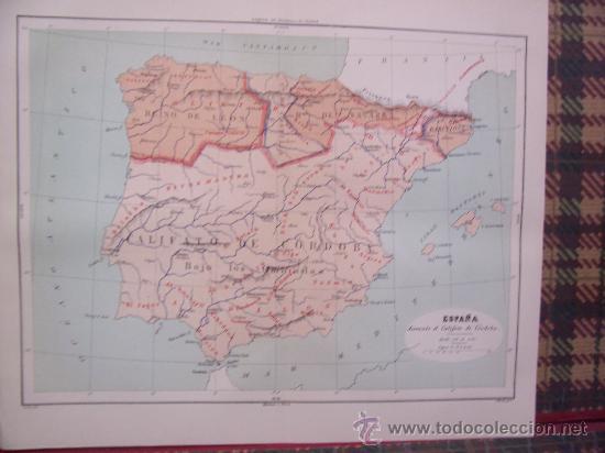 MAPAS -CROMOLITOGRAFÍA 1889 - MAPA DE ESPAÑA DURANTE EL CALIFATO DE CÓRDOBA - 27 X 22 CM. (Arte - Cromolitografía)