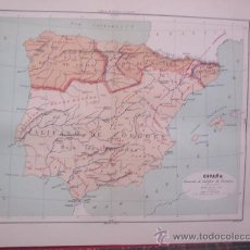 Arte: MAPAS -CROMOLITOGRAFÍA 1889 - MAPA DE ESPAÑA DURANTE EL CALIFATO DE CÓRDOBA - 27 X 22 CM.. Lote 23527403