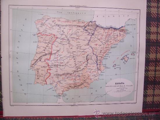 MAPAS -CROMOLITOGRAFÍA 1889 - MAPA DE ESPAÑA ANTES DE LA CAIDA DEL REINO DE GRANADA - 27 X 22 CM. (Arte - Cromolitografía)