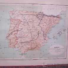 Arte: MAPAS -CROMOLITOGRAFÍA 1889 - MAPA DE ESPAÑA ANTES DE LA CAIDA DEL REINO DE GRANADA - 27 X 22 CM.. Lote 23527468