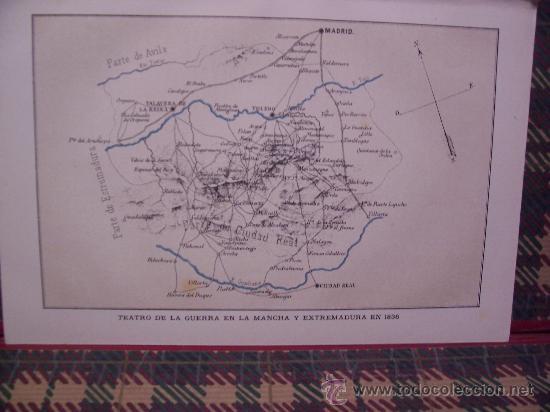 MAPAS -CROMOLITOGRAFÍA 1889- MAPA 1ª GUERRA CARLISTA EN LA MANCHA Y EXTREMADURA EN 1836- 27 X 22 CM. (Arte - Cromolitografía)