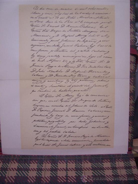 Arte: CROMOLITOGRAFÍA 1889 - 1ª GUERRA CARLISTA - FACSIMIL DE MANUSCRITO - 22.5 x 27 cm - Foto 2 - 23535546
