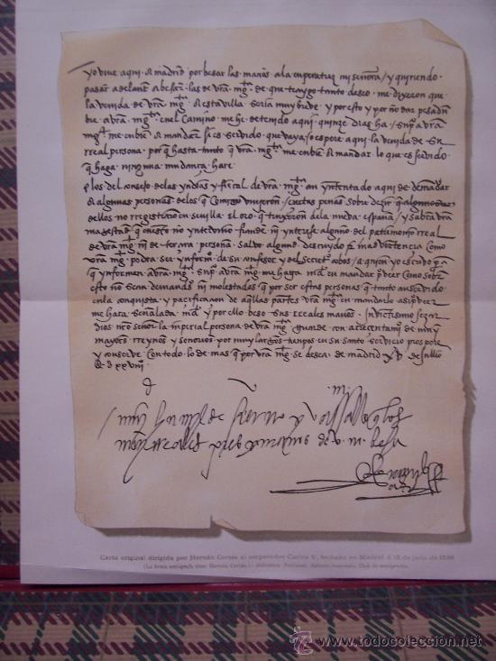 CROMOLITOGRAFÍA 1889 - FACSIMIL DE MANUSCRITO DE HERNÁN CORTÉS - 27 X 22.5 CM (Arte - Cromolitografía)