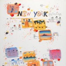 Arte: WILHELM SCHLOTE / NEW YORK . CROMOLITOGRAFÍA FIRMADA A MANO . GRAN TAMAÑO. Lote 46195390