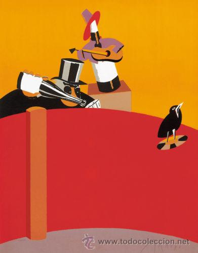 EDUARDO ARROYO / FIESTA REPRODUCCIÓN OBRA IMPRESIÓN DIGITAL NUMERADA A LÁPIZ 39 / 300 (Arte - Cromolitografía)