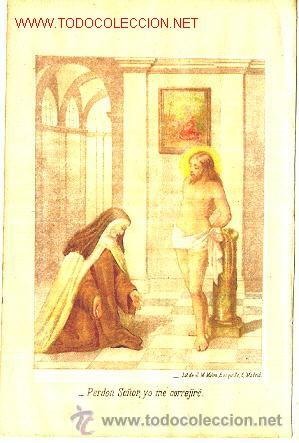 SANTA TERESA: CROMOGRAFÍA DEL SIGLO XIX. VISIÓN CRISTO (Arte - Cromolitografía)