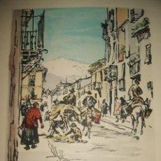 Arte: GRANADA SIERRA NEVADA DESDE LA CIUDAD CROMOLITOGRAFIA MUIRHEAD BONE 1930. Lote 31777556