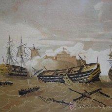 Arte: ATAQUE AL CASTILLO DEL MORRO POR LOS INGLESES 1761 .MARINA .CROMOLITOGRAFIA 24X17.LA HABANA. Lote 32250374