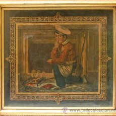 Arte: CUADRO, CROMOLITOGRAFÍA ANTIGUA, ENMARCADA. COCINERO JOVEN FRENTE A CHIMENEA. Lote 35874347
