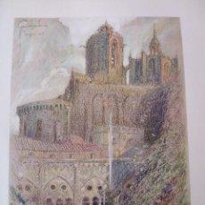 Arte: TARRAGONA LA CATEDRAL CROMOLITOGRAFIA 1925 VISTA ARTISTA INGLES G. EDWARDS . Lote 37174529