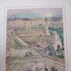 Arte: SEVILLA JARDINES REAL ALCAZAR CROMOLITOGRAFIA 1925 VISTA ARTISTA INGLES G. EDWARDS . Lote 37174941