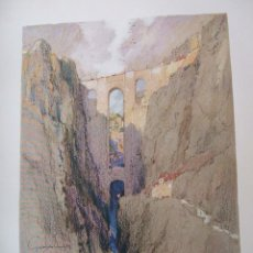 Arte: RONDA MALAGA EL TAJO CROMOLITOGRAFIA 1925 VISTA ARTISTA INGLES G. EDWARDS . Lote 37174943