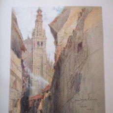 Arte: TOLEDO CALLE Y CATEDRAL CROMOLITOGRAFIA 1925 VISTA ARTISTA INGLES G. EDWARDS . Lote 37174947