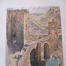 Arte: TOLEDO PUENTE DE ALCANTARA CROMOLITOGRAFIA 1925 VISTA ARTISTA INGLES G. EDWARDS . Lote 37174950