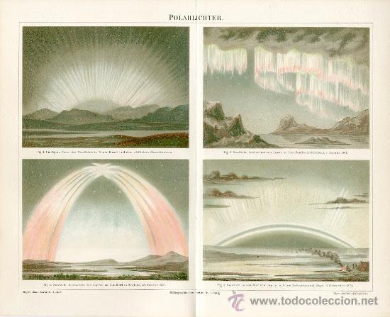 UXG 1894 AURORAS BOREALES ANTIGUA Y ORIGINAL CROMOLITOGRAFIA ALEMANA DEL 1894 LITO GRABADO AURORA (Arte - Cromolitografía)