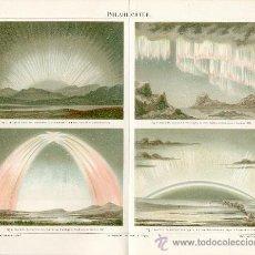 Arte: UXG 1894 AURORAS BOREALES ANTIGUA Y ORIGINAL CROMOLITOGRAFIA ALEMANA DEL 1894 LITO GRABADO AURORA. Lote 38947435
