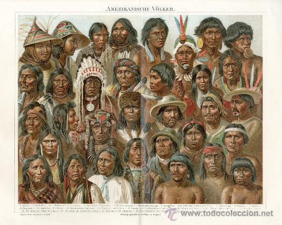 UXG PUEBLOS TIPOS DE AMERICA ANTIGUA Y ORIGINAL CROMOLITOGRAFIA ALEMANA DEL 1887 LITO GRABADO (Arte - Cromolitografía)