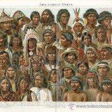 Arte: UXG PUEBLOS TIPOS DE AMERICA ANTIGUA Y ORIGINAL CROMOLITOGRAFIA ALEMANA DEL 1887 LITO GRABADO. Lote 152841756
