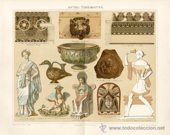 UXG ORNAMENTOS TERRACOTA ANTIGUA Y ORIGINAL LITOGRAFIA ALEMANA DEL 1894 LITO GRABADO GRIEGO ROMANO (Arte - Cromolitografía)