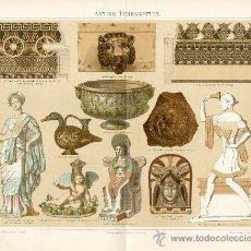 Arte: UXG ORNAMENTOS TERRACOTA ANTIGUA Y ORIGINAL LITOGRAFIA ALEMANA DEL 1894 LITO GRABADO GRIEGO ROMANO. Lote 39027719