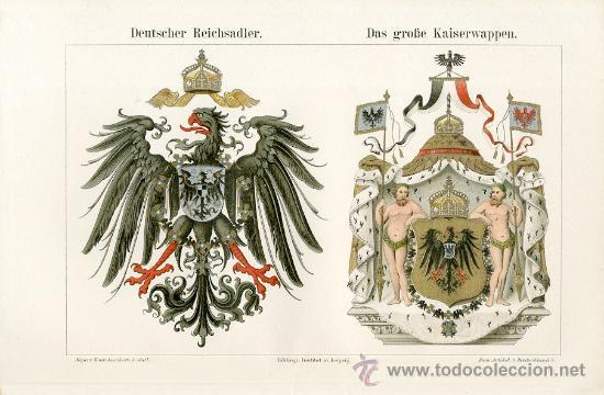 UXG AGUILA IMPERIAL ESCUDO ARMAS EMPERADOR ANTIGUA Y ORIGINAL CROMO LITOGRAFIA ALEMANA 1894 GRABADO (Arte - Cromolitografía)