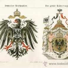 Arte: UXG AGUILA IMPERIAL ESCUDO ARMAS EMPERADOR ANTIGUA Y ORIGINAL CROMO LITOGRAFIA ALEMANA 1894 GRABADO. Lote 39061540